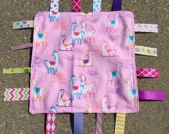 Alpacas Tag Blanket with your choice of Minky // In Stock, READY TO SHIP