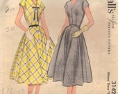 50% OFF 1950's McCall's Dress Sewing Pattern No. 3142 Size 16, Bust 34 // Vintage Misses' Dress Easy to Sew