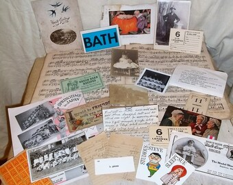 Destash Lot of Vintage Ephemera for Altered Art, Art Journals, Shadowbox Art, Scrapbooking Etc. (100 plus)
