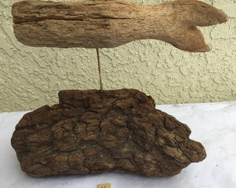 Handcrafted Driftwood Whale - one of a kind art