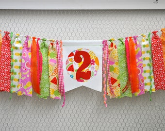 Two-tti Fruity, Tutti Fruitty  Frutti Fabric rag banner, Girls bright 2nd birthday party decor, cake smash photo prop, rag garland, I am two