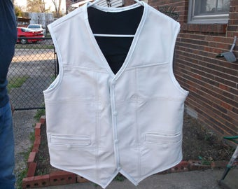 Leather Fashion Vest, Men's Vest, White, All French Stitched, Decorative Stitching, Black Lined, White Snaps, Double Pockets, All Leather