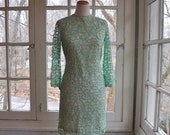 VALENTINE SALE Cool Mint Green Lace Party Dress/Vintage 1950s 1960s/Overlay Lace Party Dress/Size Small