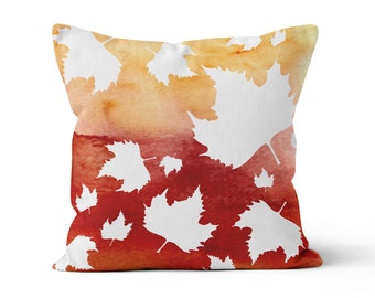 Pillow Cover, Autumn Leaves, Original Watercolour Art, Throw Pillow Case w/optional insert