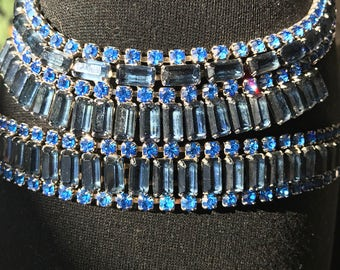 Vintage Blue Rhinestone Necklace and Bracelet Set