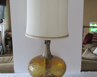 Large Amber Glass Table Lamp - Hollywood Regency Table Lamp - Mid Century Modern Table Lamp - Vintage Table Lamp