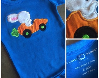 Racecar Rabbit Infant Bodysuit. Blue, Pink or Purple Easter Shirt. Baby Easter Outfit. Long or Short Sleeve.