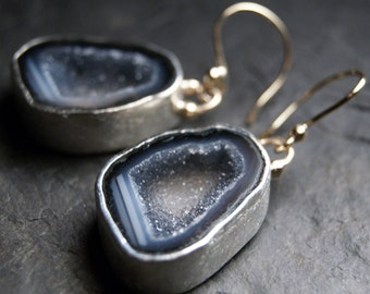 Mixed Metals Dark Lavender Druzy Geode Earrings in Recycled 14kt Yellow Gold and Sterling Silver
