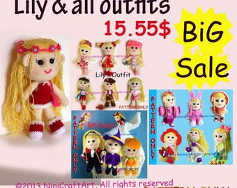 BiG Sale Lily and all outfits: Changeable Clothes Crochet Doll and 20 styles Outfits Pattern ( PDF only )