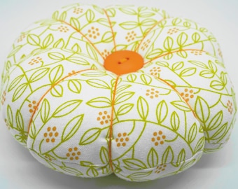Large Leaf design Pincushion, Flower Pincushion, Big Pincushion with decorative pins, Needle Keeper, Quilting Supplies
