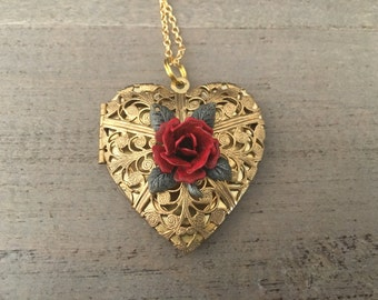 Heart Locket Necklace. Gold heart Necklace. Red Rose Locket. Valentine's Day Gift