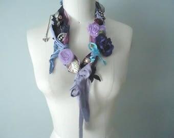 Wearable Art Assemblage Necklace, Upcycled Fabric Necklace, Bohemian Found Objects, Boho Necklace, Adjustable Purple Neckpiece, Shabby Chic