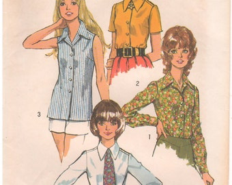 1972 - Simplicity 5022 Vintage Sewing Pattern Size 10 Bust 32 1/2 Blouse Top Collared Button Down Sleeveless Set In Short Long Sleeves