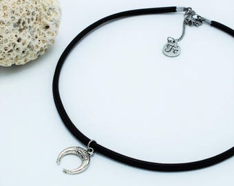 choker,necklace,horn,minimalist,black,silver,Fashionista en cavale,made in Quebec,leather,summer