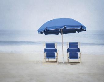 Beach Umbrella Photograph, Beach Chair Picture, Blue Coastal Artwork, Beach Photography, Ocean Wall Art, Seashore Print, Nature Photo