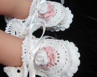 Christening Baby Girl Booties, White Christening Baby Shoes, Baptism Baby Shoes, Baby Blessing Booties Baby Shower Gifts