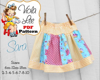 Sara, Girl's Skirt Pattern, pdf, Strip Skirt Pattern, Toddler Skirt Pattern. INSTANT DOWNLOAD. Girl's Sewing Patterns. Baby Sewing Patterns
