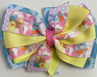 SPRING Yellow, Blue, Pink, EASTER Rabbit Bunny Chicks Egg Boutique Style Ribbon Bow Handmade for PETS Dog Collar Accessory