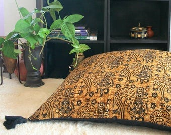 Tan And Black Bali Batik 30 inch Floor Cushions, Boho Pillows With Rolled Edges And Tassels, FREE Worldwide Shipping