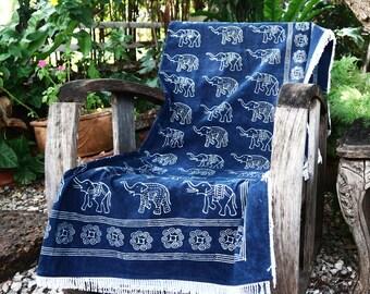Elephant Throw Blanket, Natural Indigo Batik Cotton Boho Picnic Blanket, Blue Baby Blanket With Silky Fringe, FREE Worldwide Shipping