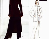 ON SALE NOW Pattern Vogue 1281 Fitted lined longline jacket and pants optional overskirt Pantsuit Size 8-10-12 Badgley Mischka Vogue Attitud