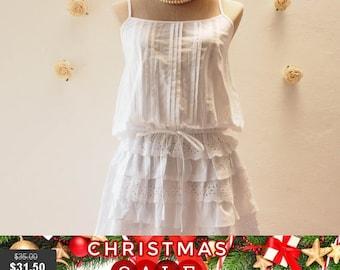 Christmas SALE Boho Blouse, White Bohemian Dress Beach Dream Girl - White Cotton Dress / Beach Dress / White Layer Skirt Lace Dress - Fre...
