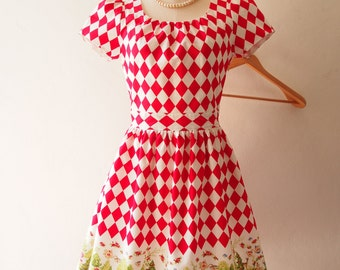 20% OFF Sale Size S- Alice in Wonderland Love Spell with Sleeve Dress Red Tea Party Summer Casual Midi Print Dress