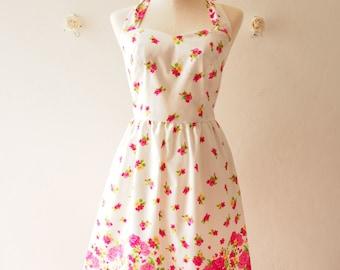 20% OFF Sale - Floral Sundress Vintage Inspired Pink Floral Garden Dress Tea Party Dress Halter Retro Modern Dress Gift for Women, custom
