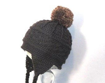 Wool winter toddler hat with large pom pom, ear flaps and braids.  Ready to ship crochet toddler hat.  Wool earflap hat with pompoms.