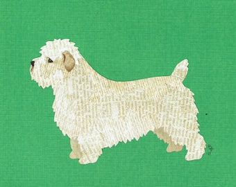 Glen Of Imaal Terrier handmade original cut paper collage dog art  other colors available