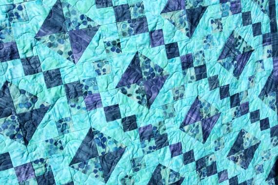 Batik Patchwork Quilt, King / Queen, Jewelled Trellis Handmade by PingWynny