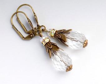Clear Crystal Earrings, Antiqued Brass Nickel Free Jewelry, Crystal Drop Earrings, Filigree Jewelry, Clear Dangle Earrings, Corliss