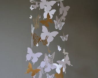 Butterfly nursery mobile / baby mobile made with white and gold butterflies -- Butterfly babyshower, nursery art, nursery decor