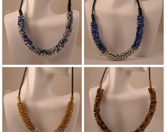 Beaded Wire Coiled Necklace Seed Bead Wire Wrapped Necklace