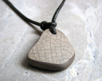 Sea Pottery Necklace on Leather Cord, Crackled Grey Beach Jewelry Women or Mens Necklace Minimalist Rustic Jewelry Beach Pottery Pendant
