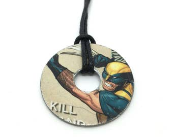 Upcycled Comic Book Washer Necklace Featuring - Wolverine