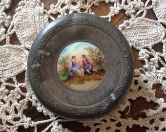 Vintage French Metal and Porcelain Powder Budoir Container
