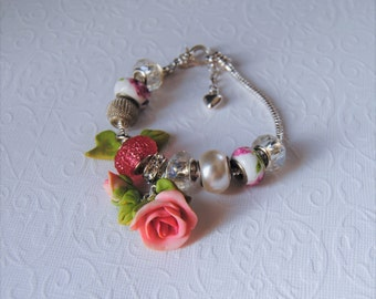 Spring rose charm bracelet. Silver, pink ,white and light green. Pandora style bracelet.Polymer clay flowers.