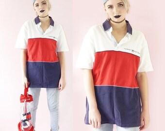 SALE Tommy Hilfiger 90s Polo Shirt, 90s Designer Tee, Vintage Tommy Hilfiger, Club Kid Logo Top, Men's Tommy, Men's Size Large