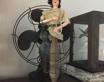 "Rusty light cage art doll 'The Rusty Model"" art doll assemblage embellished with found objects"
