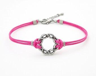Silver Twine Ring Bracelet, Bright Pink Bracelet,  Braided Circle Bracelet, Twist Karma Bracelet, Waxed Cord Bracelet