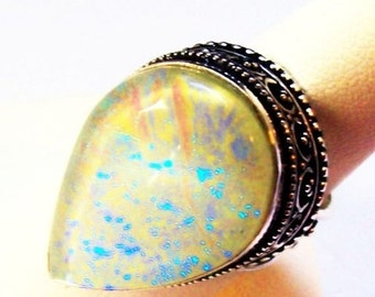Opal Triplet Ring Yellow Blue Fire Signed 925 Sterling Silver Tear Drop Sz 8 NOS Vintage