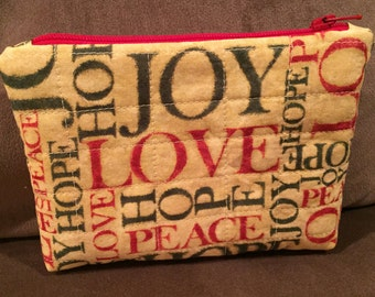 Quilted, Holidays, Hope, Love, Joy, Mini Purse, Coin Purse, Credit Card Holder, Purse, Cosmetic Bag, Organizer, Gift Card Holder