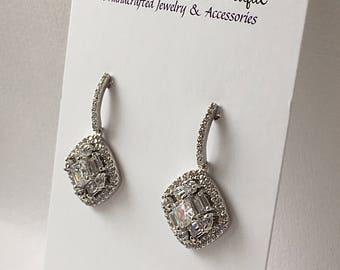 Wedding Earrings, Art Deco Earrings,  Bridal Earrings, Platinim Plated, Diamond Earrings, Drop Dangle Earrings