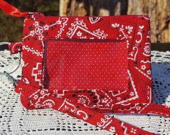 ID Wallet, Keychain Wallet, ID Holder, Zip ID Wallet, Optional Wrist Strap, Red and White Bandana