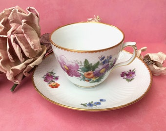 Beautiful Hand Painted Teacup and Saucer by Royal Copenhagen
