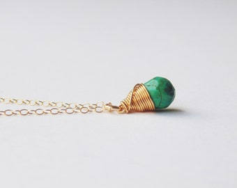 Blue green faceted turquoise gemstone teardrop wire wrapped pendant 14ct gold filled chain necklace