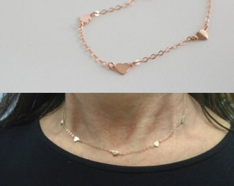 Rose gold station heart necklace - multi rose gold vermeil heart  - mini heart necklace - 14K rose gold-filled chain -  - teeny tiny heart -