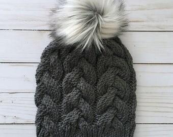 Knit Hat, Knit Beanie, Pom Pom Hat, Faux Fur Pom Pom, Women's Beanie, Womens Hat, Women's Knit Hat, Winter Hat, Accessories, Knit Winter Hat
