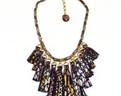 ON SALE Snakeskin Print Leather Tassel Statement Necklace/ Metallic Fringe Necklace/ Silver Gold Necklace/ Edgy Jewelry/ Animal Print Neckla